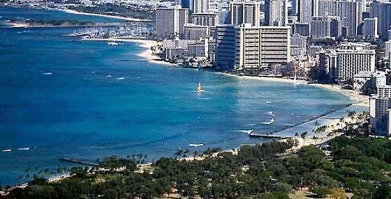 Waikiki Beach (Foreground) And Ala Moana Beach (In The Distance)