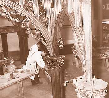 Craftsmen work on restoring the Gothic Room from the steamer City of Detroit III in the Dossin Museum in 1966