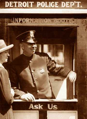 The first patrol cars had two-man teams and were assigned to booths with telephones throughout the city. One officer would remain at the booth near the car waiting for telephone orders while the other would patrol the area on foot.
