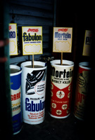 Fabulon and Mortein cylinder advertising and display stands.
