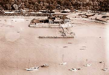 An aerial view of the boat club during a rowing regatta in August of 1935.
