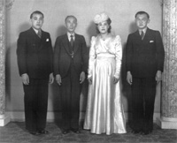 Edgar (Ned), Jack Joe Lowe, Mavis and Verdon Lowe at Verdun's wedding to Dorothy Que, Tingha, 1943.
