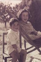 Mavis Pratt (nee Lowe) with her eldest son, John, about 1949
