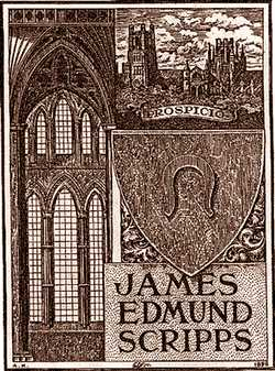 The bookplate from Scripps' book on his European travels.