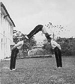 An acrobatic stunt.