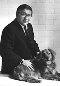 Bernard Herrmann with his dog, who seems a lot happier with the great composer than does Alfred Hitchcock, while posing with Herrmann.