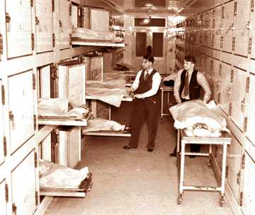 Attendants at the morgue which opened in 1926, replacing the old badly overcrowded facility.