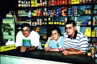 Peter, Mavis and John Pratt, behind the front counter at Wing Hing Long, 1998.