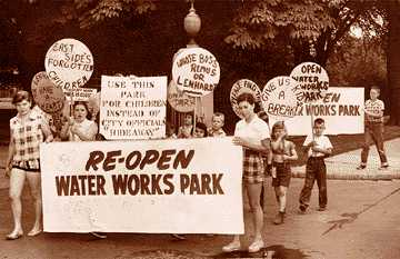 A group of young Detroit protesters demands the park, which had been closed in 1951, be reopened. After years of protests like this one in 1954, part of the park was finally reopened in 1957.