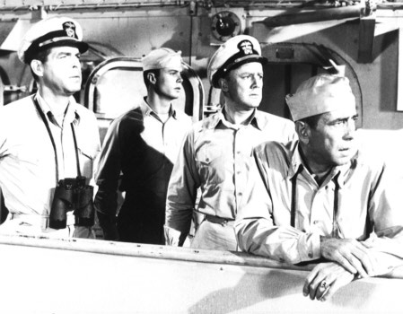 Steiner used music in shipboard scenes of 'The Caine Mutiny,' but used none in the dramatic court-martial scenes. Pictured, from left: Fred MacMurray, Robert Francis, Van Johnson, Humphrey Bogart.