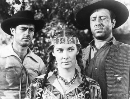 Only 3-D film Steiner scored was 'The Charge at Feather River' with, from left, Guy Madison, Vera Miles and Steve Brodie.
