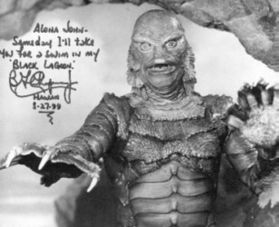 John Stanley's photo of The Gillman, autographed by Ben Chapman, the man inside the rubber suit.
