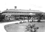 Photograph showing a long house fronted by a verandah, which stands at the head of driveway. The driveway curves around a garden with lawn and palm trees.